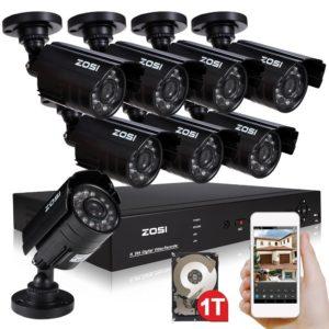 ZOSI 8X 700TVL Outdoor Bullet Video Überwachungskamera 20M IR Nachtsicht Kamera mit HDMI H.264 8CH Netzwerk DVR Digital Video Recorder, Smartphone/PC Zugriff via QR-Code, CCTV Außen Kamera System mit 1TB HDD